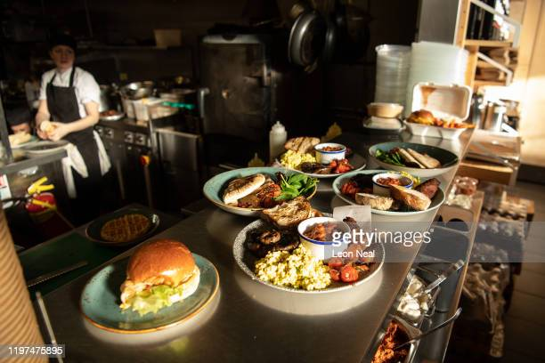 Vegan food waits to be taken to the tables inside the Hoxton branch of the vegan restaurant chain Mildreds on January 04 2020 in London England...