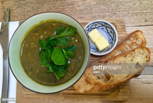 vegan indian curry soup - curry soup stock photos and pictures