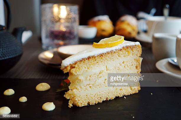 Vegan lemon cake slices with tea