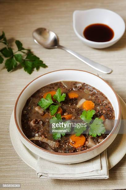 vegan lentil stew with different root vegetables - flat leaf parsley stock photos and pictures