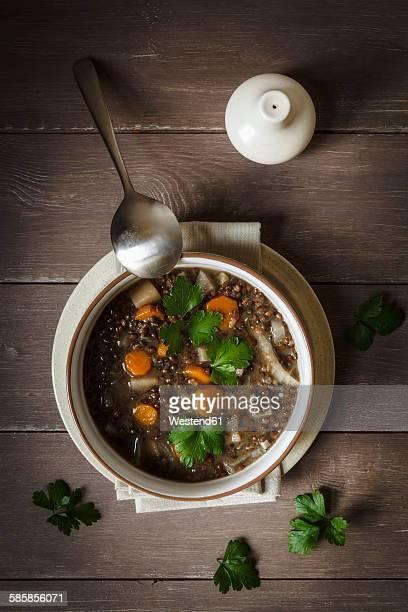 Vegan lentil stew with different root vegetables