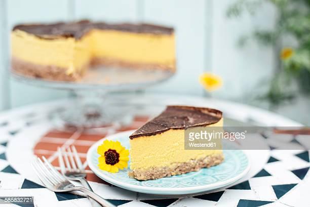 Vegan Mango fruit tart on plate