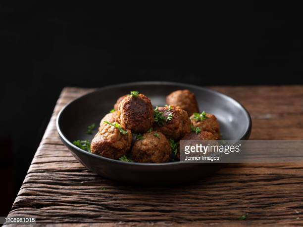 vegan meatballs on a plate. - meat stock pictures, royalty-free photos & images