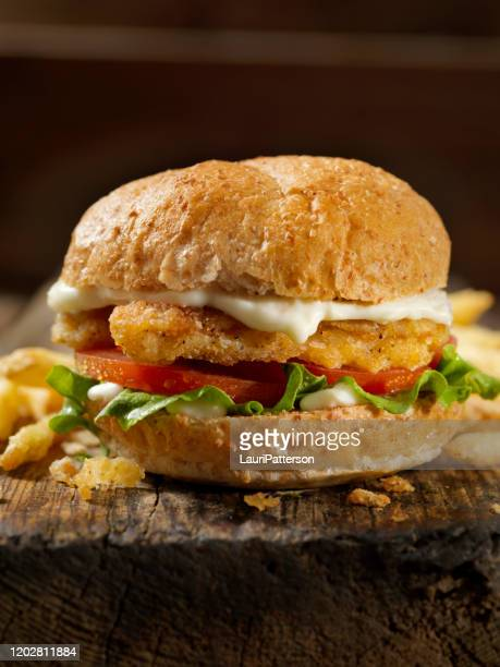 vegan, meatless-plant based protein chicken strip burger on a whole wheat bun with lettuce tomato - turkey burger stock pictures, royalty-free photos & images