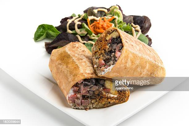 vegan mexican wrap sandwich - burrito stock pictures, royalty-free photos & images
