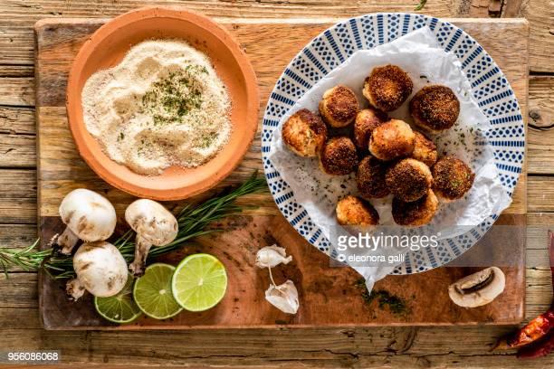 vegan mushroom croquettes - croquette stock photos and pictures