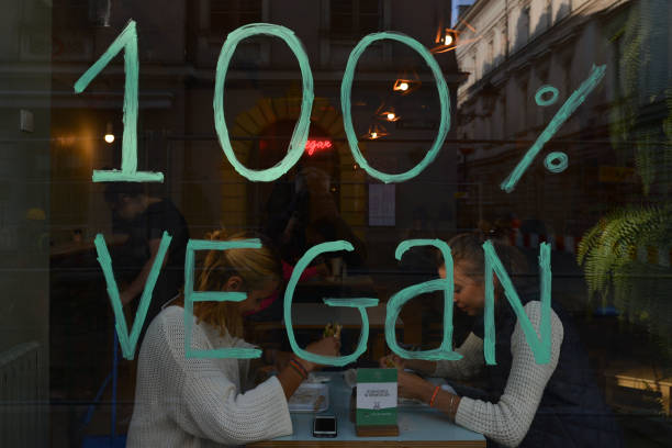 Vegan on a window of one of many vegan restaurants in Krakow city center. On Thursday, September 27 in Krakow, Poland.
