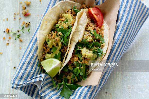 vegan quinoa tacos - carolafink stock pictures, royalty-free photos & images