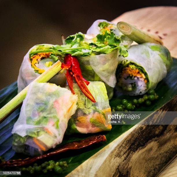 Vegane Reispapier Frühlingsrollen