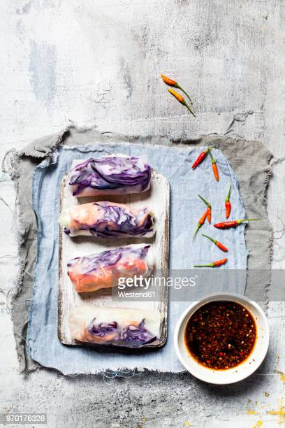 vegan rice paper wraps (vietnamese summer rolls), filled with cabbage, carrots, bell pepper, rice noodles, and dipping sauce - soy sauce stock photos and pictures