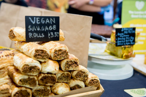 Vegan sausage rolls for sale during Plant Powered Expo 2020 at Olympia London on February 2, 2020 in London, England. .