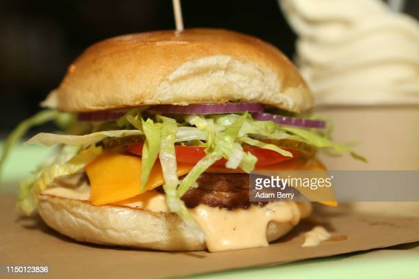 Vegan seitan burger is seen at the Vedang fast food restaurant in the Mall of Berlin on May 18, 2019 in Berlin, Germany. With fast food chains such...