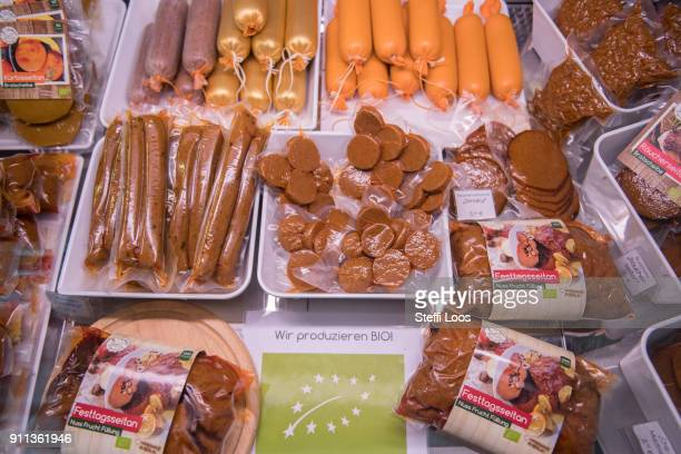 Vegan seitan products are displayed at the vegan seitan manufactory shop and diner L'herbivore by owner Johannes Theuerl on January 25, 2018 in...