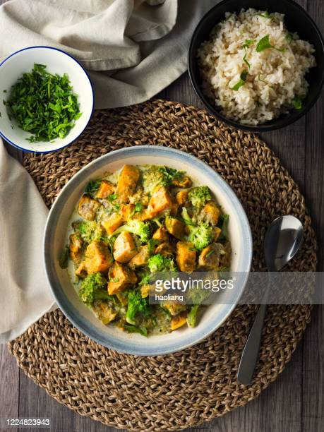 vegan sweet potato curry - crockery stock pictures, royalty-free photos & images