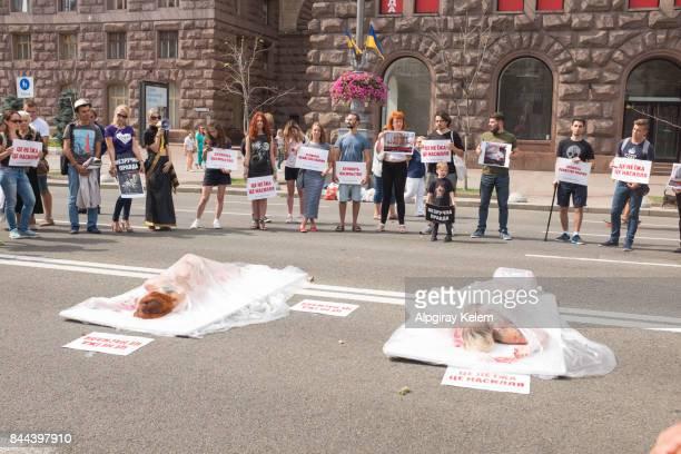 Vegan vegetarian meat equals killing protest in Kiev