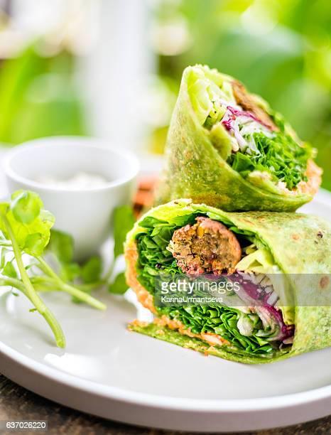 vegan wrap - tortilla flatbread stock photos and pictures