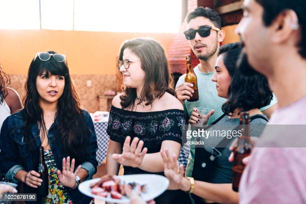 vegans rejecting meat barbecue - red meat stock pictures, royalty-free photos & images