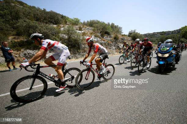 Vegard Stake Laengen of Norway and UAE Team Emirates / Thomas De Gendt of Belgium and Team Lotto Soudal / Dylan van Baarle of The Netherlands and...