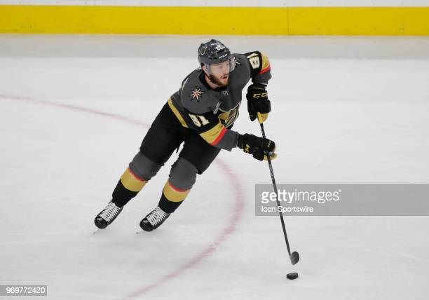 Vegas Golden Knights center Jonathan Marchessault controls the puck during the first period of Game Five of the Stanley Cup Final between the Vegas...