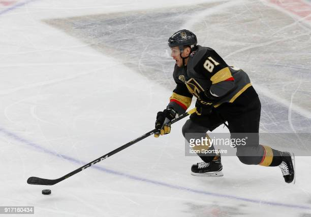 Vegas Golden Knights center Jonathan Marchessault moves the puck during the third period of a regular season NHL game between the Philadelphia Flyers...