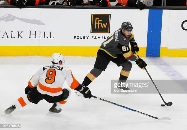 Vegas Golden Knights center Jonathan Marchessault moves the puck during the first period of a regular season NHL game between the Philadelphia Flyers...