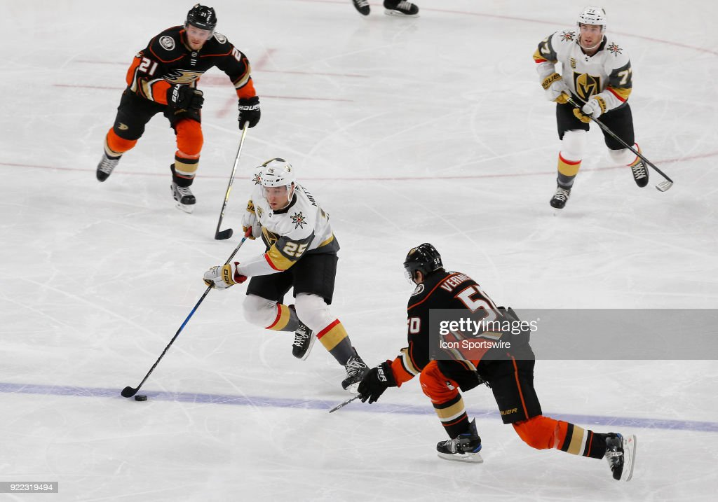 Vegas Golden Knights center Stefan Matteau (25) moves the puck during the second period of a regular season NHL game between the Anaheim Ducks and the Vegas Golden Knights at T-Mobile Arena Monday, Feb. 19, 2018, in Las Vegas, Nevada. The Anaheim Ducks would defeat the Vegas Golden Knights 2-0.