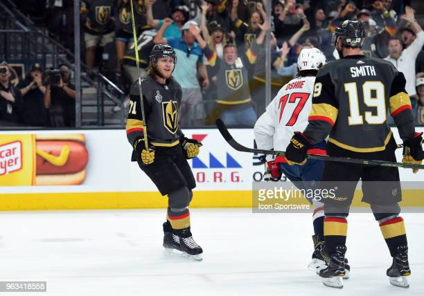 Vegas Golden Knights Center William Karlsson celebrates after scoring their second goal of the game in the first period during game 1 of the Stanley...