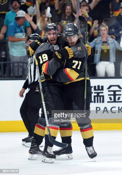 Vegas Golden Knights Center William Karlsson celebrates with Vegas Golden Knights Right Wing Reilly Smith after scoring their second goal of the game...