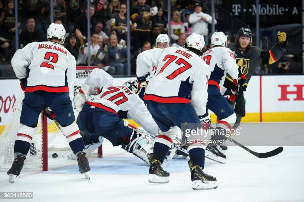 Vegas Golden Knights Center William Karlsson scores the Knights' second goal of the game in the first period during game 1 of the Stanley Cup Final...