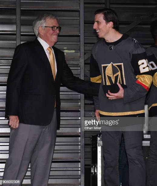 Vegas Golden Knights majority owner Bill Foley greets MarcAndre Fleury during the Vegas Golden Knights Fan Fest at the Fremont Street Experience on...