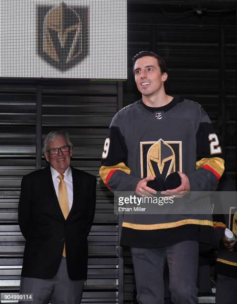 Vegas Golden Knights majority owner Bill Foley looks on as MarcAndre Fleury is introduced during the Vegas Golden Knights Fan Fest at the Fremont...