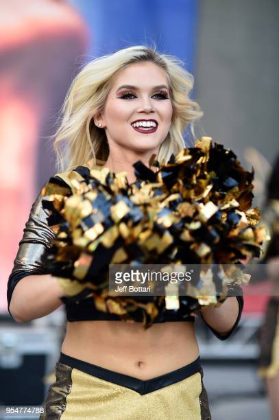 Vegas Golden Knights cheerleaders rally fans outside the arena prior to Game Five of the Western Conference Second Round against the San Jose Sharks...
