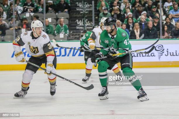 Vegas Golden Knights Defenceman Brayden McNabb battles for the puck with Dallas Stars Right Wing Alexander Radulov during the game between the Dallas...