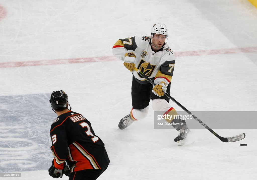 Vegas Golden Knights defenseman Brad Hunt (77) passes the puck during the second period of a regular season NHL game between the Anaheim Ducks and the Vegas Golden Knights at T-Mobile Arena Monday, Feb. 19, 2018, in Las Vegas, Nevada. The Anaheim Ducks would defeat the Vegas Golden Knights 2-0.