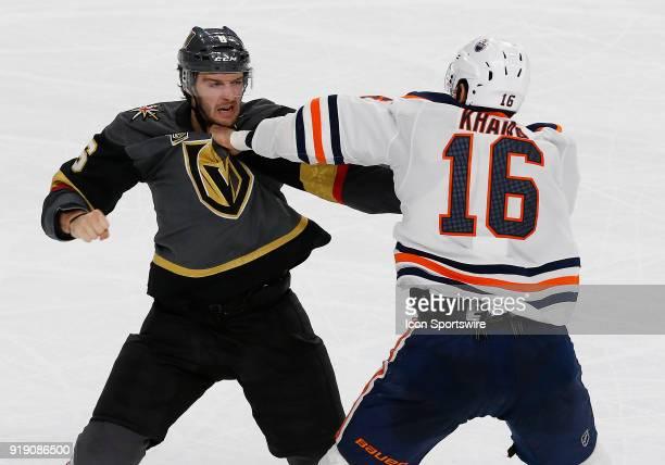 Vegas Golden Knights defenseman Colin Miller and Edmonton Oilers left wing Jujhar Khaira fight during the third period of a regular season NHL game...