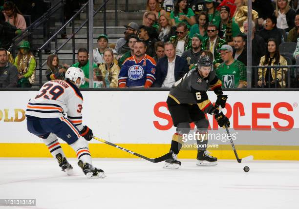 Vegas Golden Knights defenseman Colin Miller controls the puck during a regular season game against the Edmonton Oilers Sunday March 17 at TMobile...