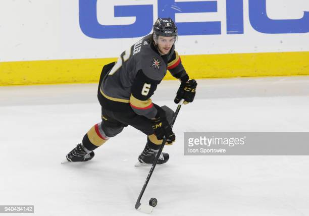 Vegas Golden Knights defenseman Colin Miller controls the puck during the second period of a regular season game between the San Jose Sharks and the...