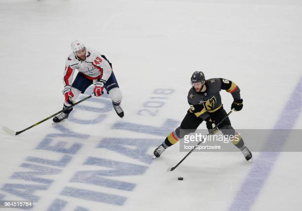Vegas Golden Knights defenseman Colin Miller controls the puck during the second period of Game Two of the Stanley Cup Final between the Washington...