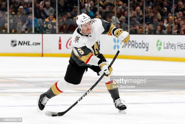 Vegas Golden Knights defenseman Colin Miller hammer a shot from the point during a game between the Boston Bruins and the Vegas Golden Knights on...