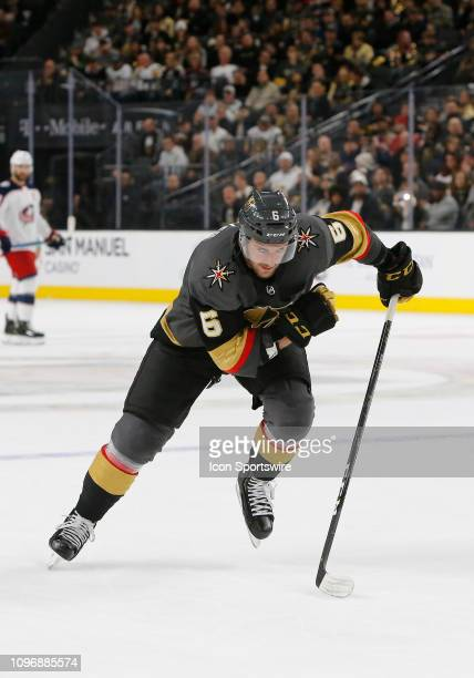 Vegas Golden Knights defenseman Colin Miller in action during a regular season game against the Columbus Blue Jackets Saturday Feb 9 at TMobile Arena...