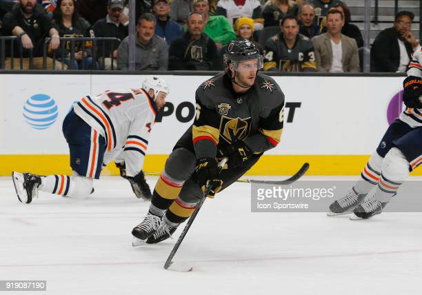 Vegas Golden Knights defenseman Colin Miller looks to pass the puck during the second period of a regular season NHL game between the Edmonton Oilers...
