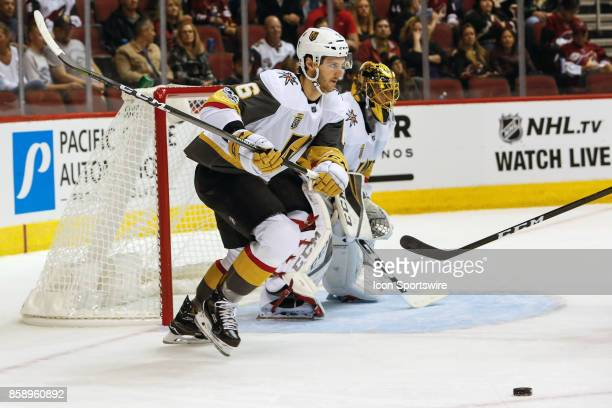 Vegas Golden Knights defenseman Colin Miller moves the puck during the NHL hockey game between the Vegas Golden Knights and the Arizona Coyotes on...