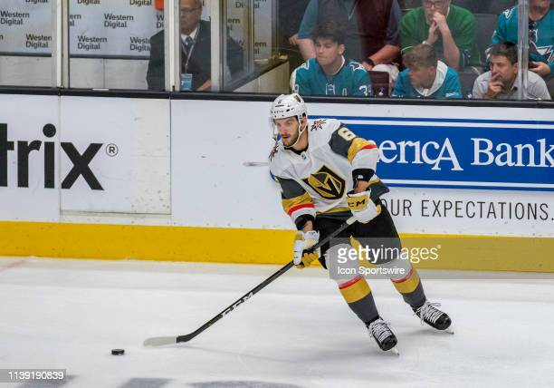 Vegas Golden Knights defenseman Colin Miller passes across the ice during Game 7 Round 1 between the Vegas Golden Knights and the San Jose Sharks on...