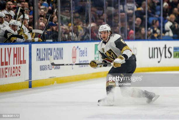 Vegas Golden Knights defenseman Colin Miller shoots the puck around the boards during an NHL game between the Vegas Golden Knights and Buffalo Sabres...