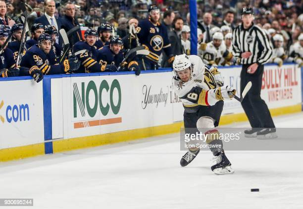 Vegas Golden Knights defenseman Colin Miller shoots the puck on goal during an NHL game between the Vegas Golden Knights and Buffalo Sabres on March...
