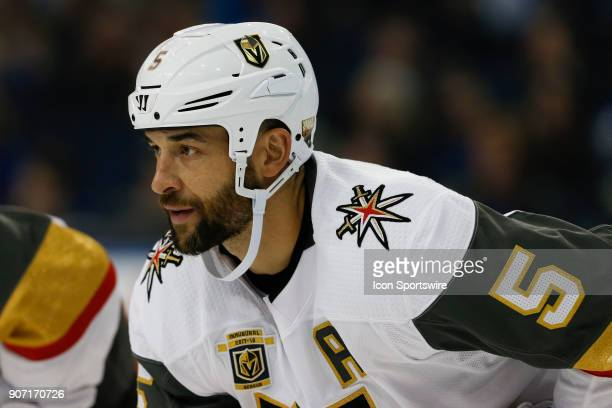 Vegas Golden Knights defenseman Deryk Engelland in the second period of the NHL game between the Vegas Golden Knights and Tampa Bay Lightning on...
