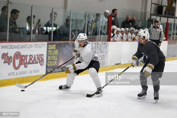 Vegas Golden Knights Defenseman Erik Brannstrom controls the puck during a joint scrimmage at the Vegas Golden Knights Development Camp on July 1...