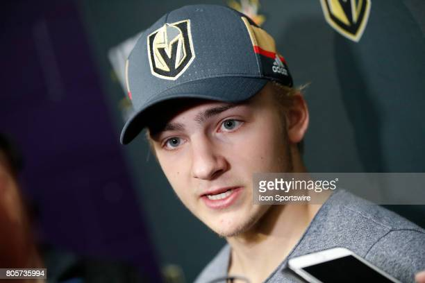Vegas Golden Knights Defenseman Erik Brannstrom speaks to the media after a joint scrimmage at the Vegas Golden Knights Development Camp on July 1...