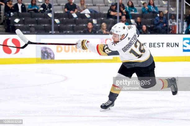 Vegas Golden Knights defenseman Erik Brannstrom takes a shot during the San Jose Sharks game versus the Vegas Golden Knights on September 22 at SAP...