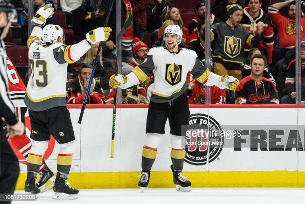 Vegas Golden Knights defenseman Shea Theodore celebrates his game winning goal in overtime during an NHL hockey game between the Vegas Golden Knights...